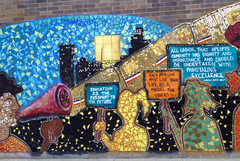 Wall mural at uplift community high school creative for Educational mural