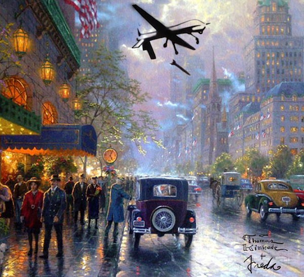 Artist Wages Drone War On Thomas Kinkade Creative Resistance