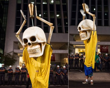 Skeleton With FIFA Trophy