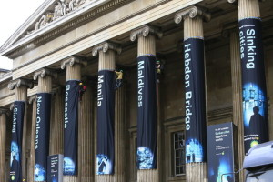 "Greenpeace climbs British Museum on opening day of BP-sponsored ""Sunken cities"" exhibition"