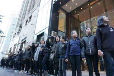 Women Form Human Chain Outside Trump Tower